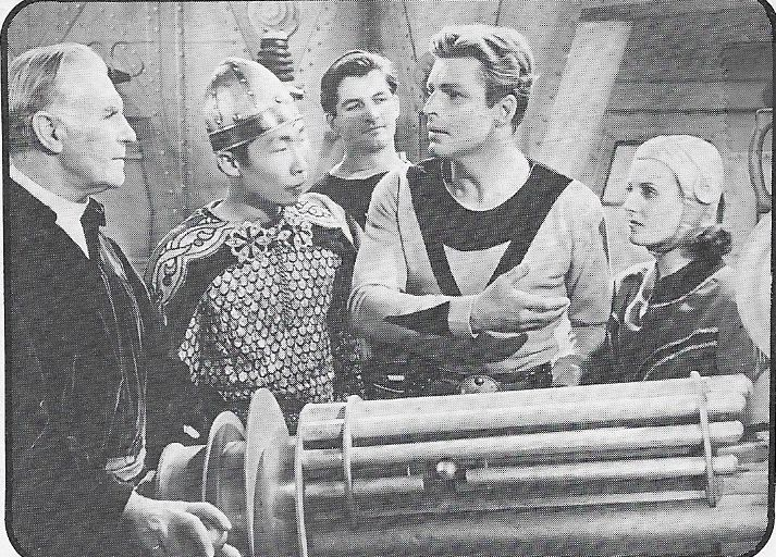 Philson Ahn, Buster Crabbe, Constance Moore, and C. Montague Shaw in Buck Rogers (1939)
