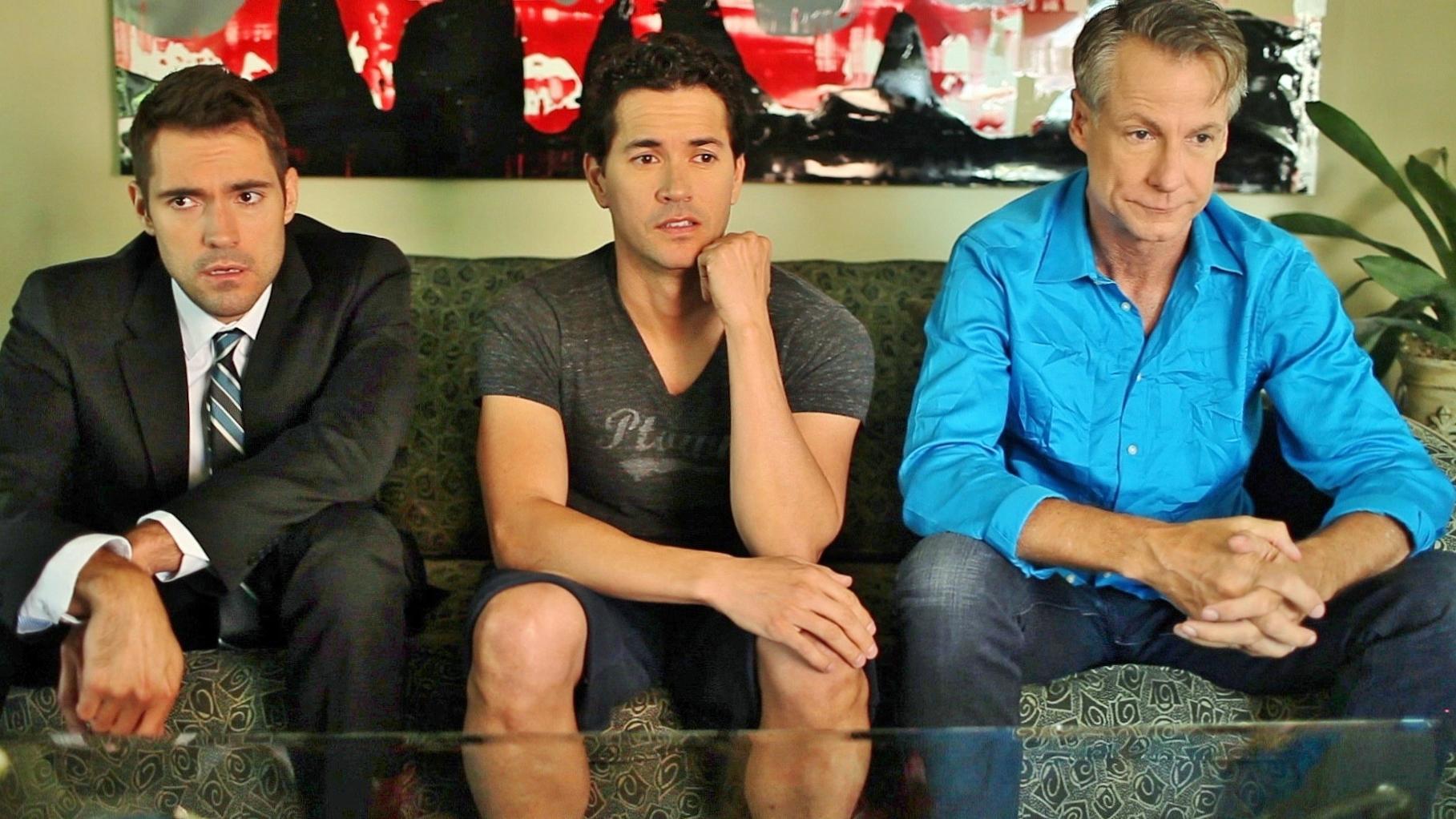 """Michael Nicklin as Jacob with Benjamin Lutz and Eric Dean in """"The Men Next Door"""""""