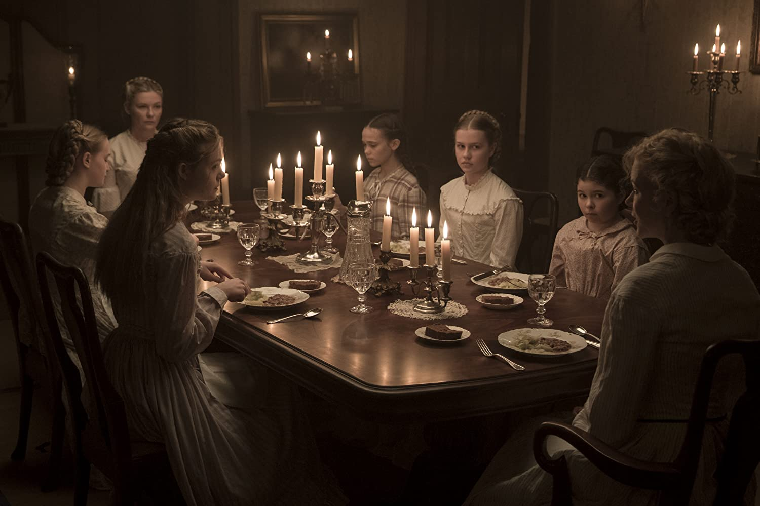 Nicole Kidman, Kirsten Dunst, Elle Fanning, Angourie Rice, Oona Laurence, Addison Riecke, and Emma Howard in The Beguiled (2017)