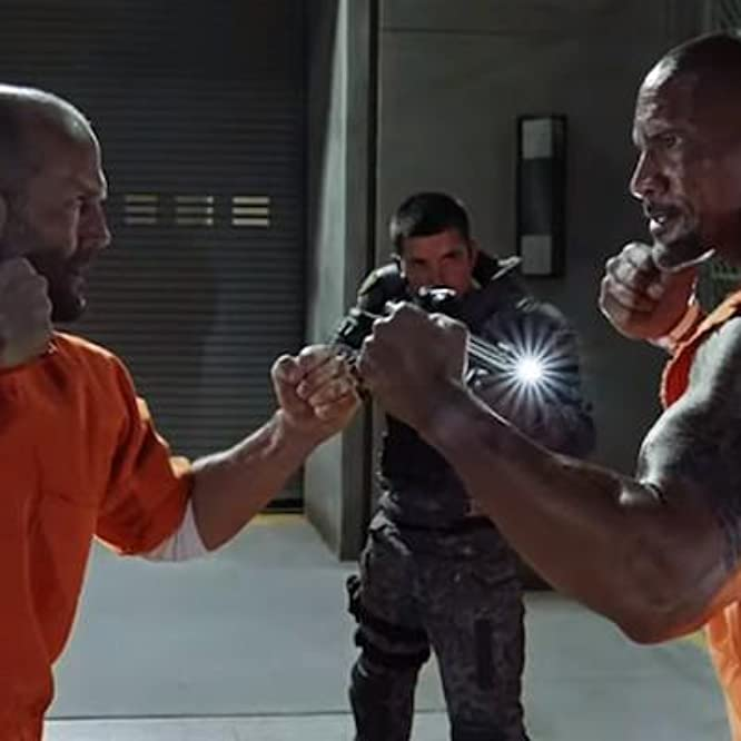Jason Statham and Dwayne Johnson in The Fate of the Furious (2017)
