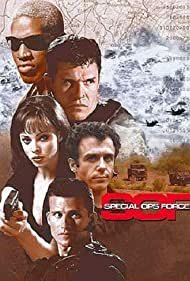Dennis Rodman, Tim Abell, Melinda Clarke, David Eigenberg, and Brad Johnson in Soldier of Fortune, Inc. (1997)