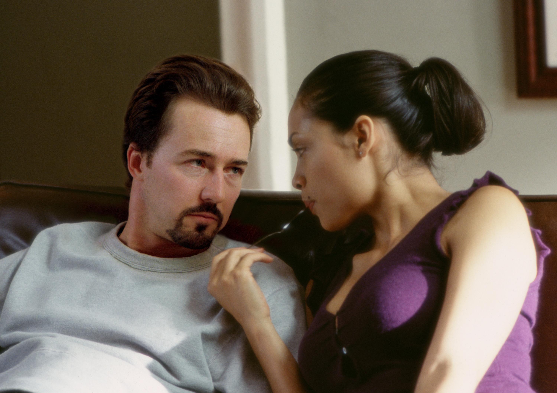 Edward Norton and Rosario Dawson in 25th Hour (2002)
