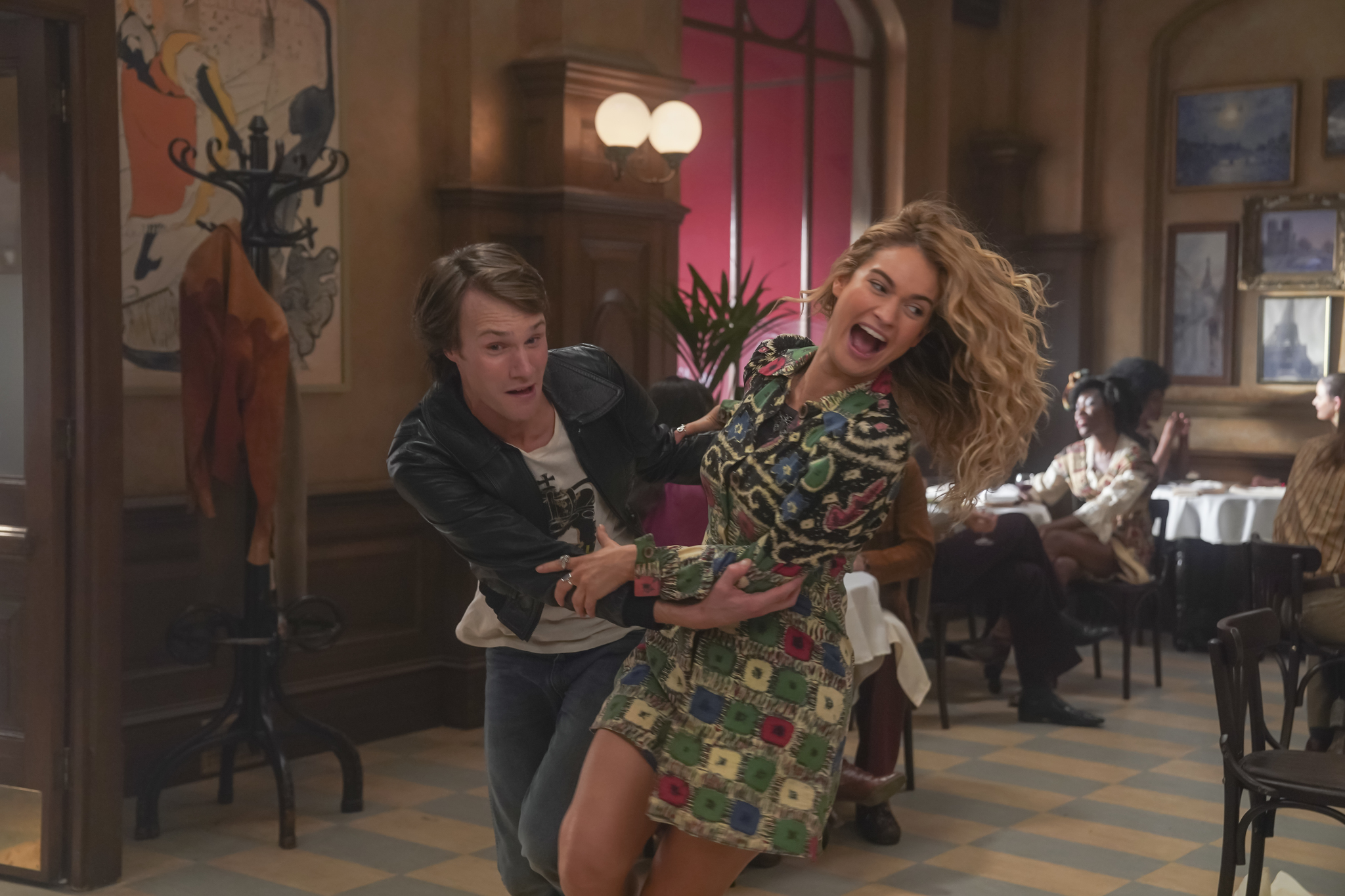 Hugh Skinner and Lily James in Mamma Mia! Here We Go Again (2018)