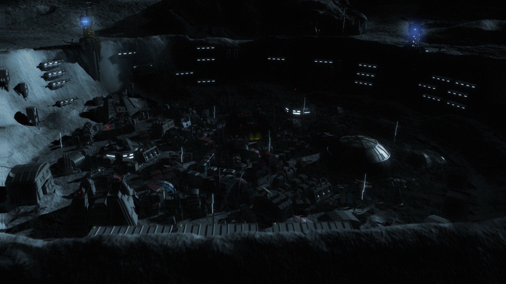 Still of the moon base in Shockwave Darkside (2014)