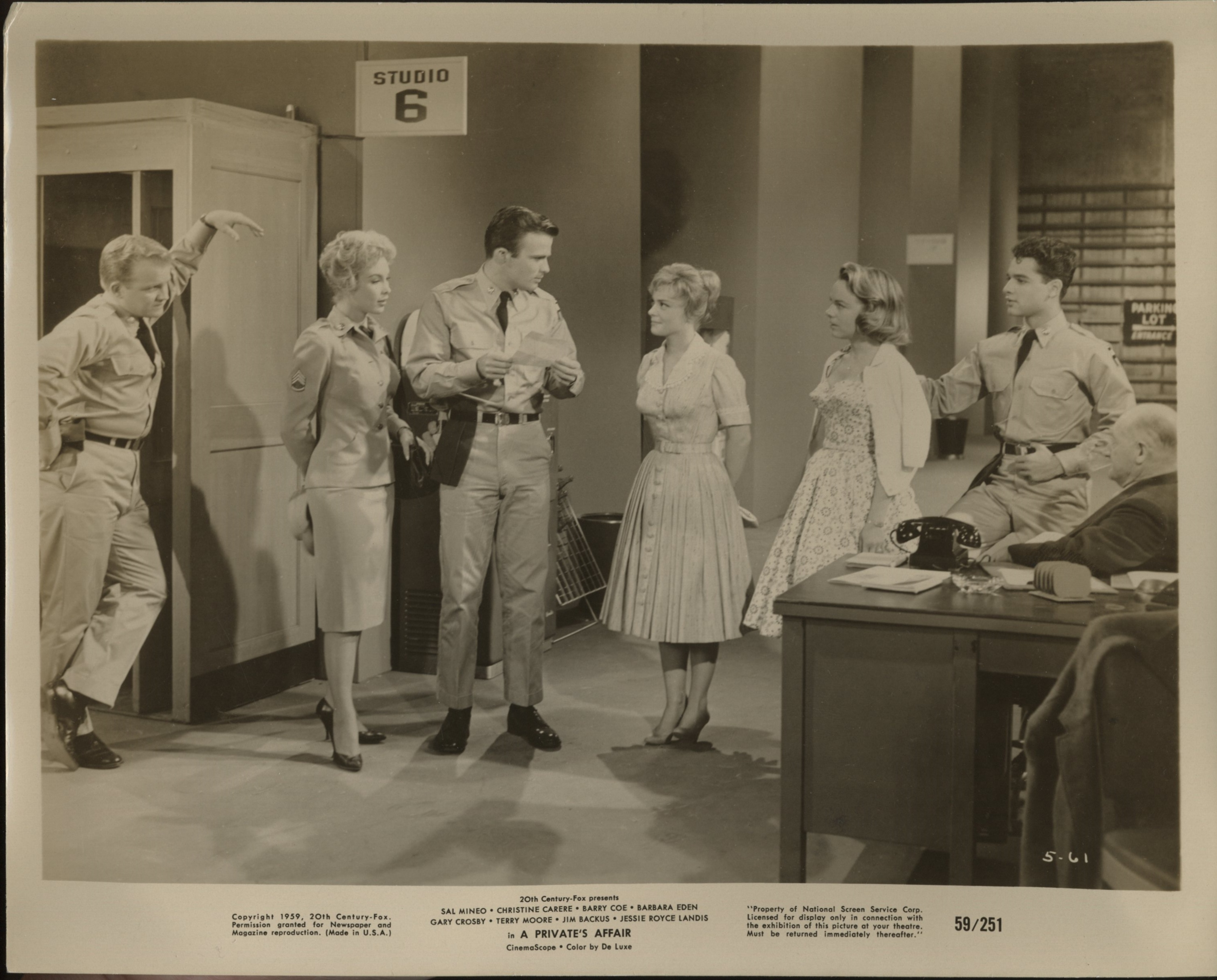Sal Mineo, Barbara Eden, Christine Carère, Barry Coe, Gary Crosby, and Terry Moore in A Private's Affair (1959)