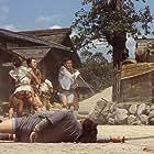 Saburô Date, Shintarô Katsu, Jun Katsumura, and Isao Yamagata in Zatôichi umi o wataru (1966)