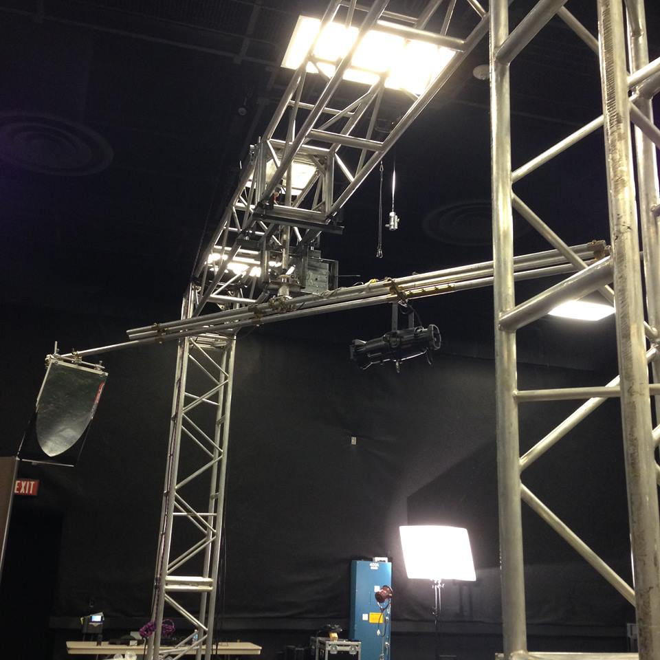 Rotating light rig designed and built by Jon Shryock for music video