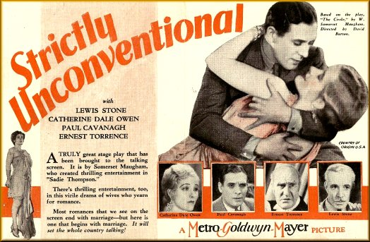Paul Cavanagh, Catherine Dale Owen, Lewis Stone, and Ernest Torrence in Strictly Unconventional (1930)