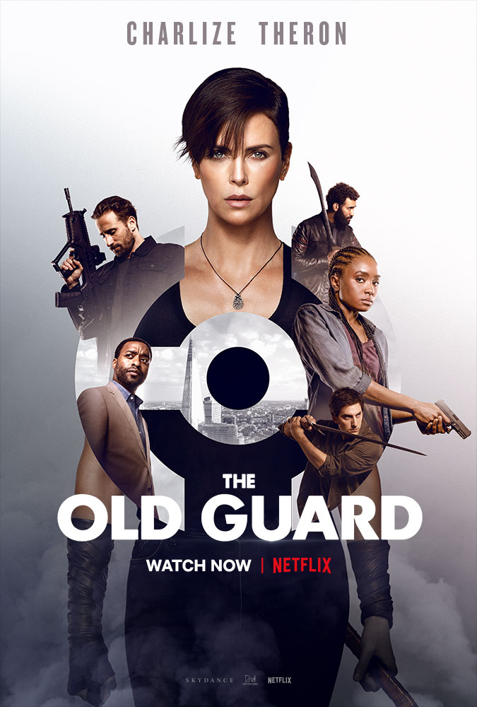 Charlize Theron, Chiwetel Ejiofor, Matthias Schoenaerts, Luca Marinelli, Marwan Kenzari, and KiKi Layne in The Old Guard (2020)