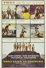 Gary Cooper, Rita Hayworth, Van Heflin, Richard Conte, Tab Hunter, Michael Callan, and Dick York in They Came to Cordura (1959)