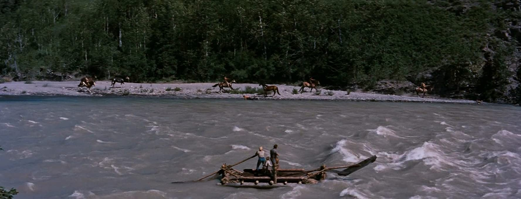 Robert Mitchum, Marilyn Monroe, and Tommy Rettig in River of No Return (1954)