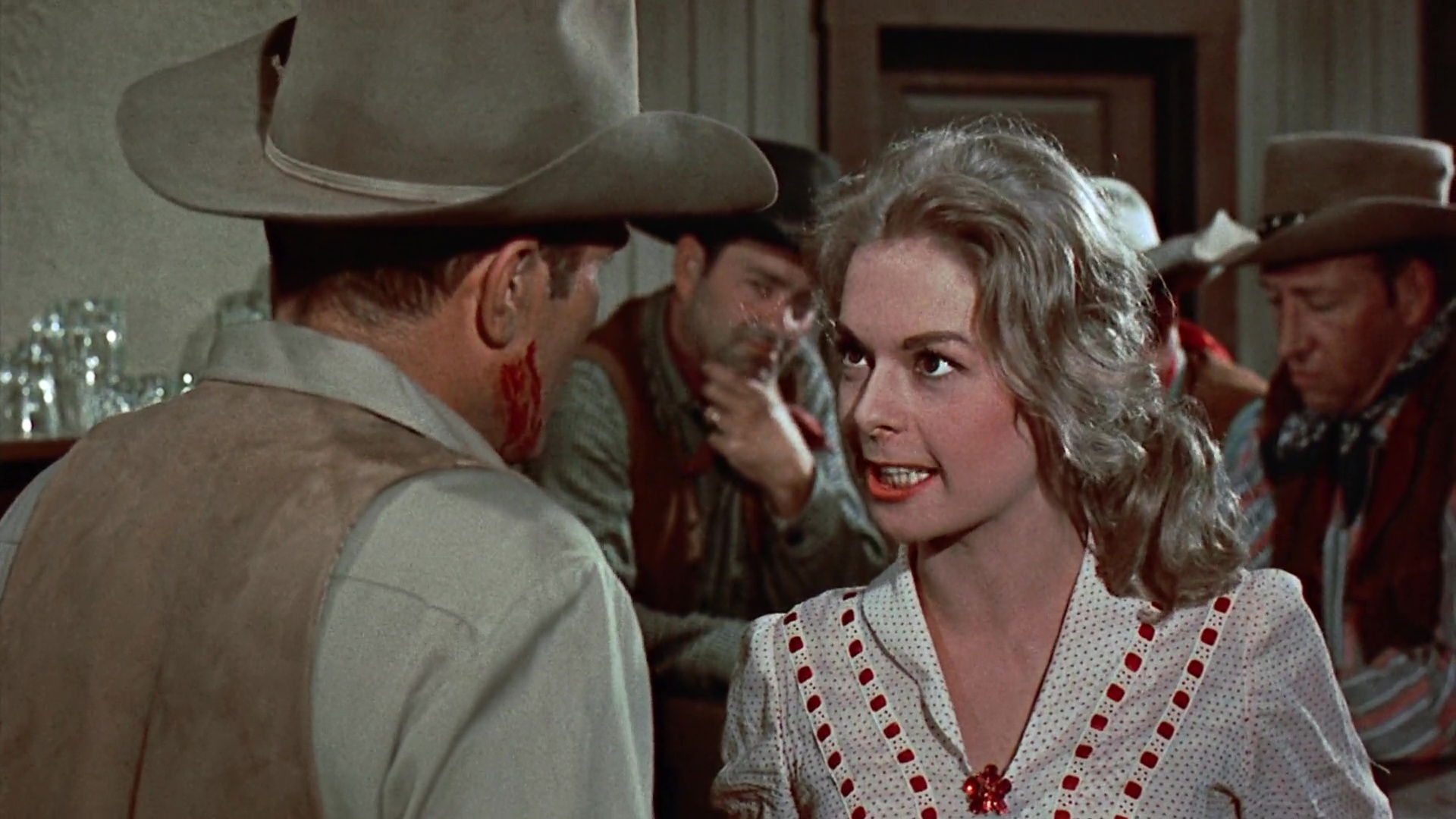 Jennifer Holden and William Leslie in Buchanan Rides Alone (1958)