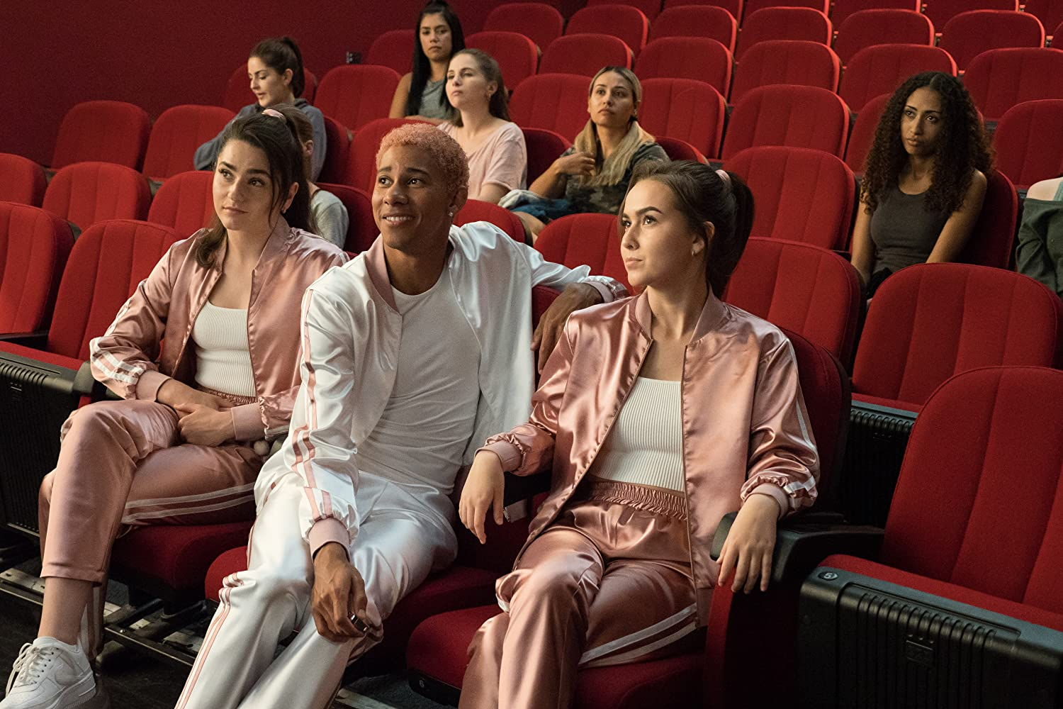Kalliane Brémault, Briana Andrade-Gomes, and Keiynan Lonsdale in Work It (2020)