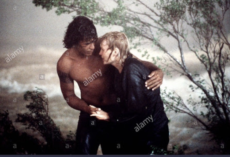 Mia Farrow and Dayton Ka'ne in Hurricane (1979)