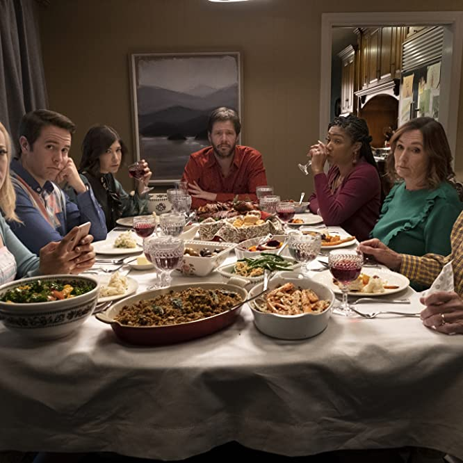 Nora Dunn, Ike Barinholtz, Chris Ellis, Carrie Brownstein, Tiffany Haddish, Jon Barinholtz, and Meredith Hagner in The Oath (2018)