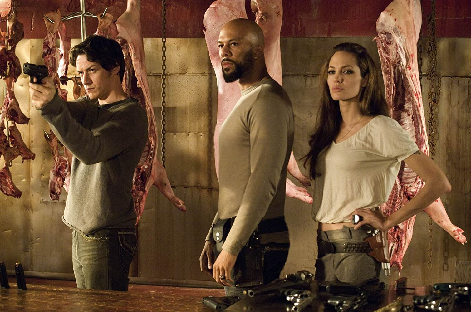 Angelina Jolie, James McAvoy, and Common in Wanted (2008)