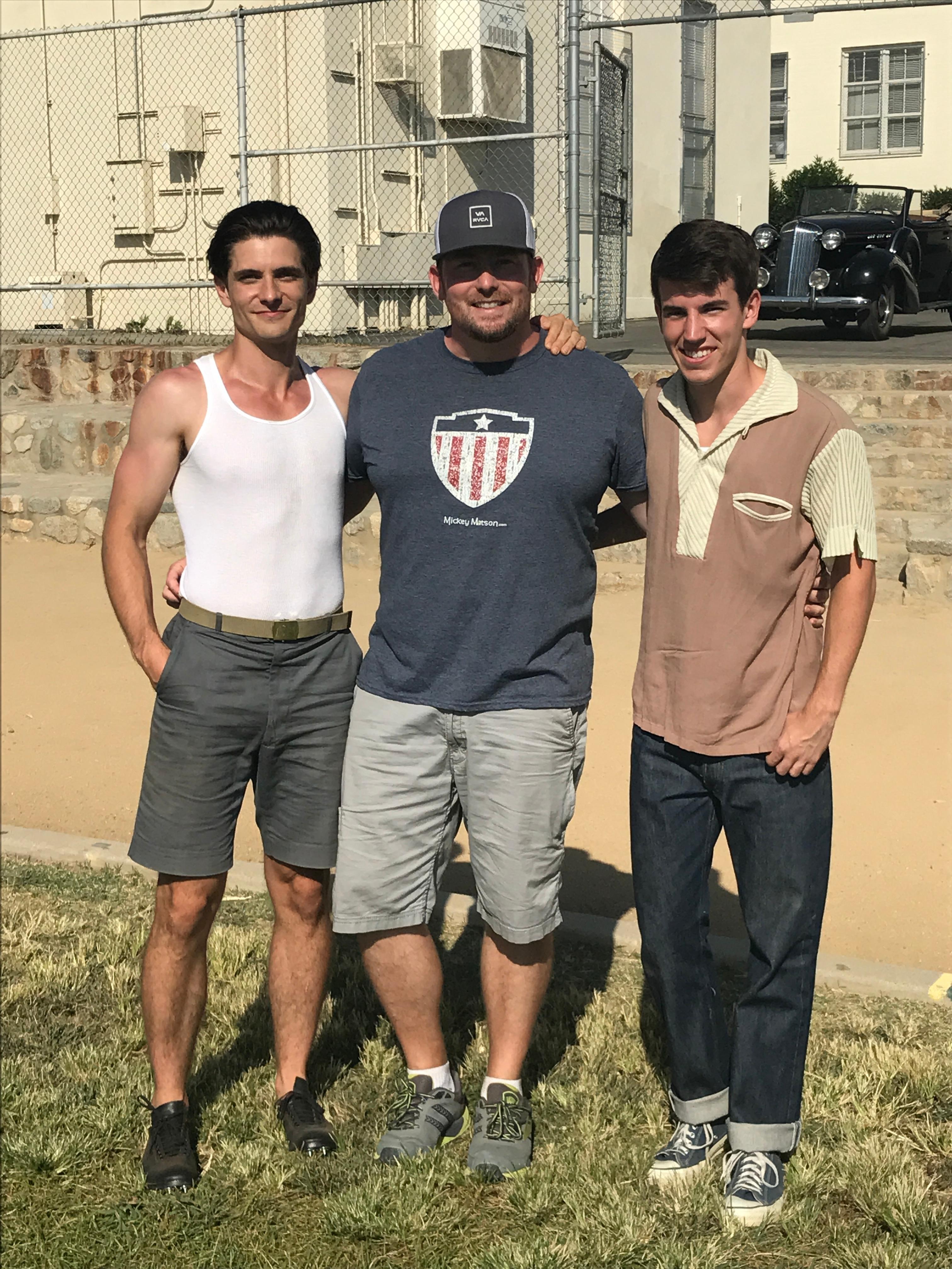 Sam Hunt, Harold Cronk and Derek Brandon on set of Unbroken: Path to Redemption