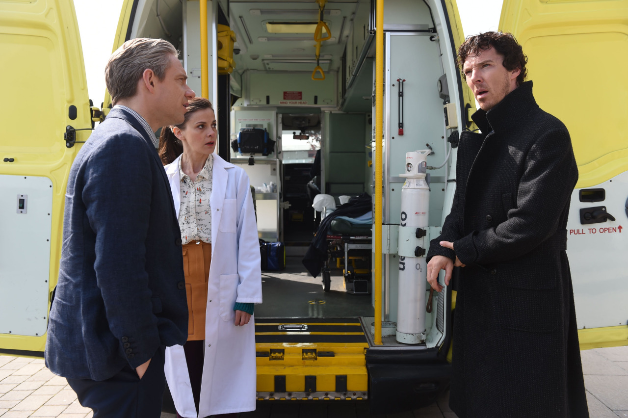 Martin Freeman, Louise Brealey, and Benedict Cumberbatch in Sherlock (2010)