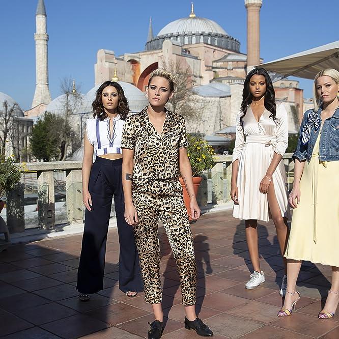 Elizabeth Banks, Kristen Stewart, Naomi Scott, and Ella Balinska in Charlie's Angels (2019)