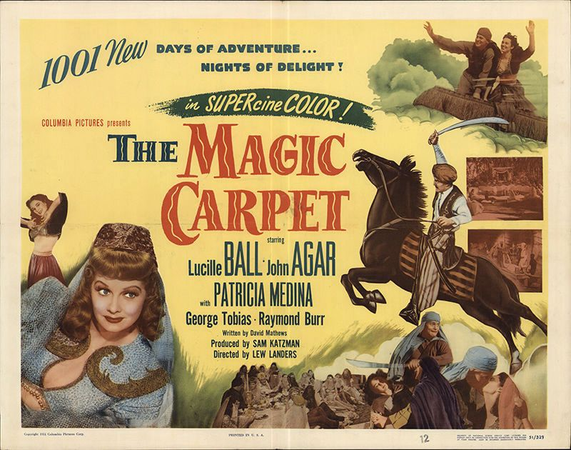 John Agar, Lucille Ball, and Patricia Medina in The Magic Carpet (1951)
