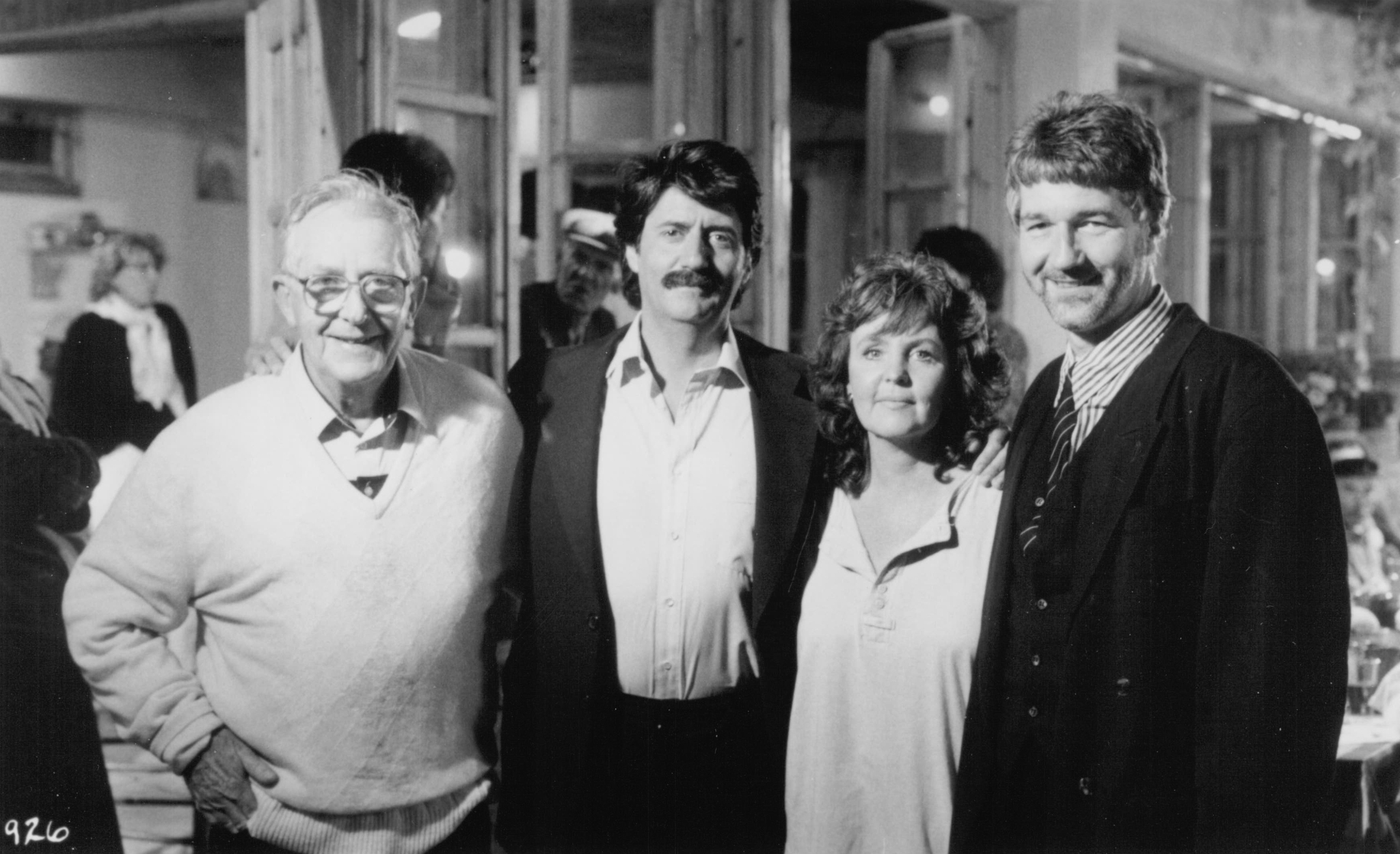 Tom Conti, Pauline Collins, Lewis Gilbert, and Willy Russell in Shirley Valentine (1989)