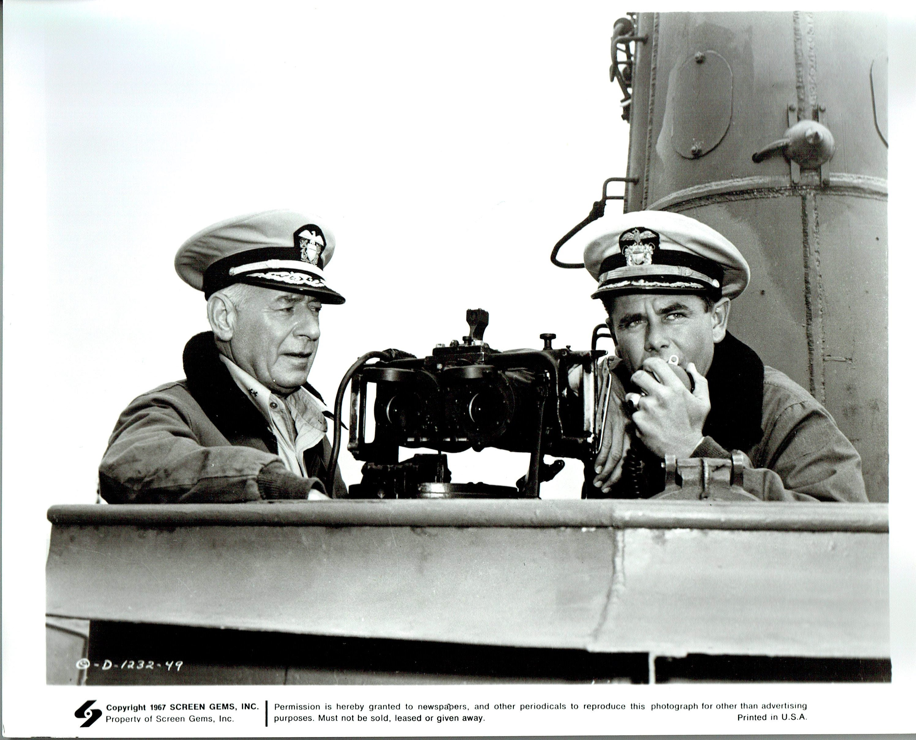 Glenn Ford and Henry O'Neill in The Flying Missile (1950)