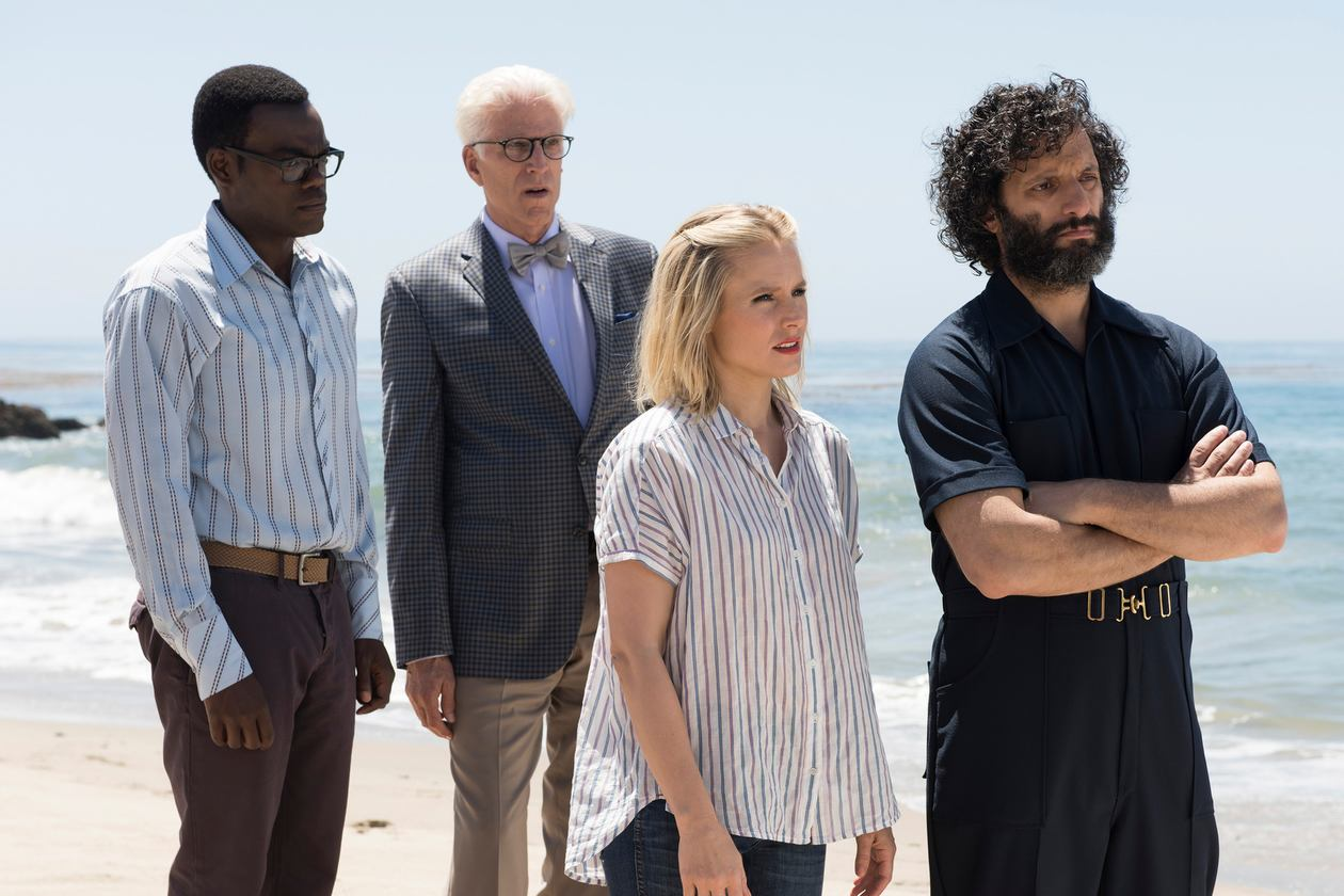 Ted Danson, Kristen Bell, Jason Mantzoukas, and William Jackson Harper in The Good Place (2016)