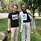 Shark Pig Producer Brian Morrow with Louis Gossett Jr. on the set of Hal