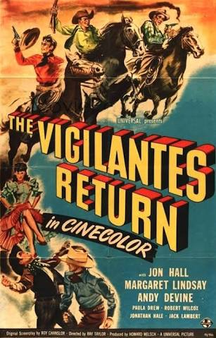 Jon Hall and Margaret Lindsay in The Vigilantes Return (1947)