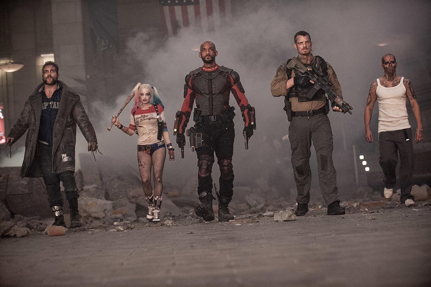 Will Smith, Jay Hernandez, Joel Kinnaman, Jai Courtney, and Margot Robbie in Suicide Squad (2016)