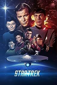 Walter Koenig, Leonard Nimoy, William Shatner, James Doohan, DeForest Kelley, and Nichelle Nichols in Star Trek (1966)