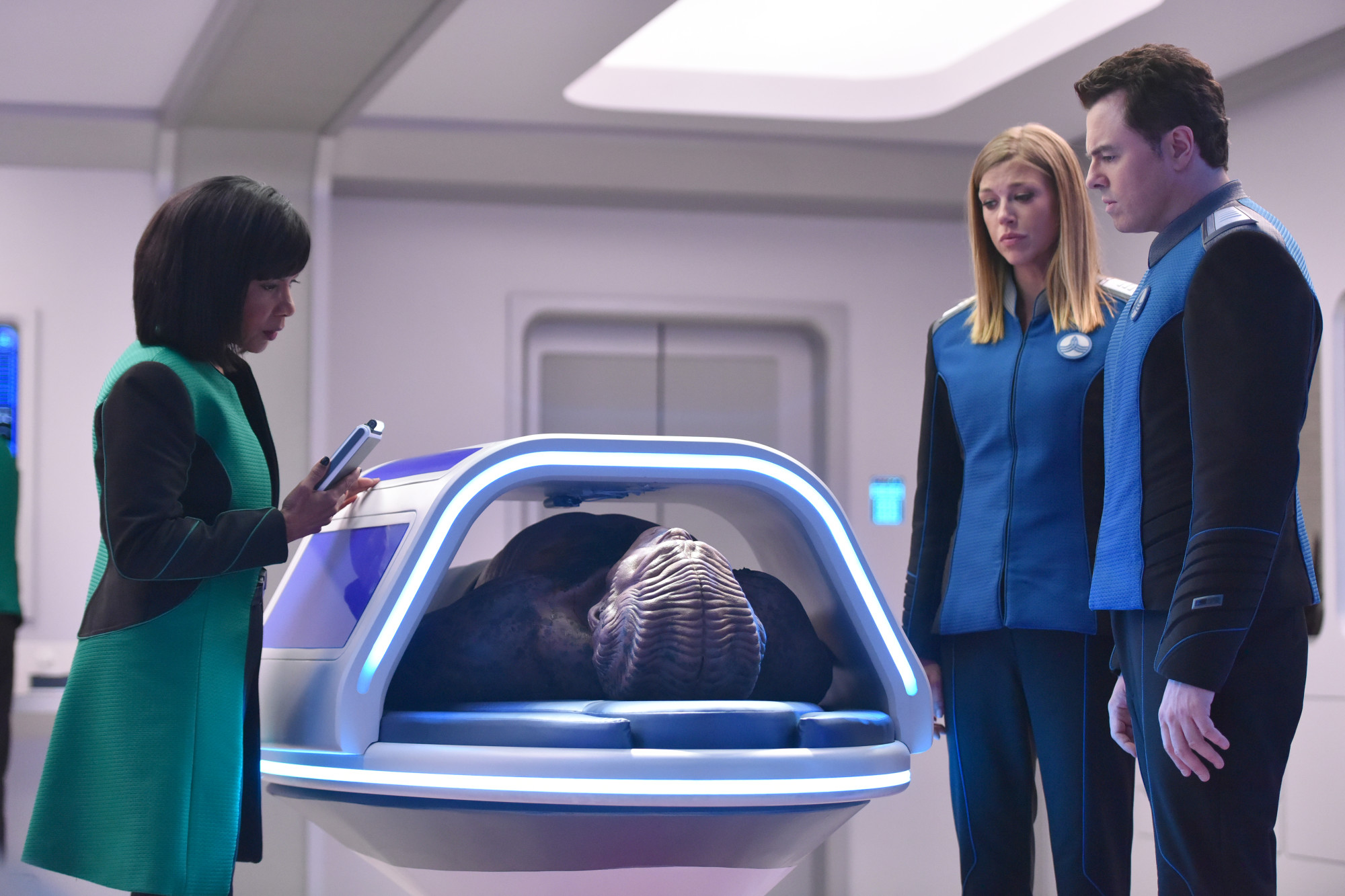 Penny Johnson Jerald, Seth MacFarlane, and Adrianne Palicki in The Orville (2017)