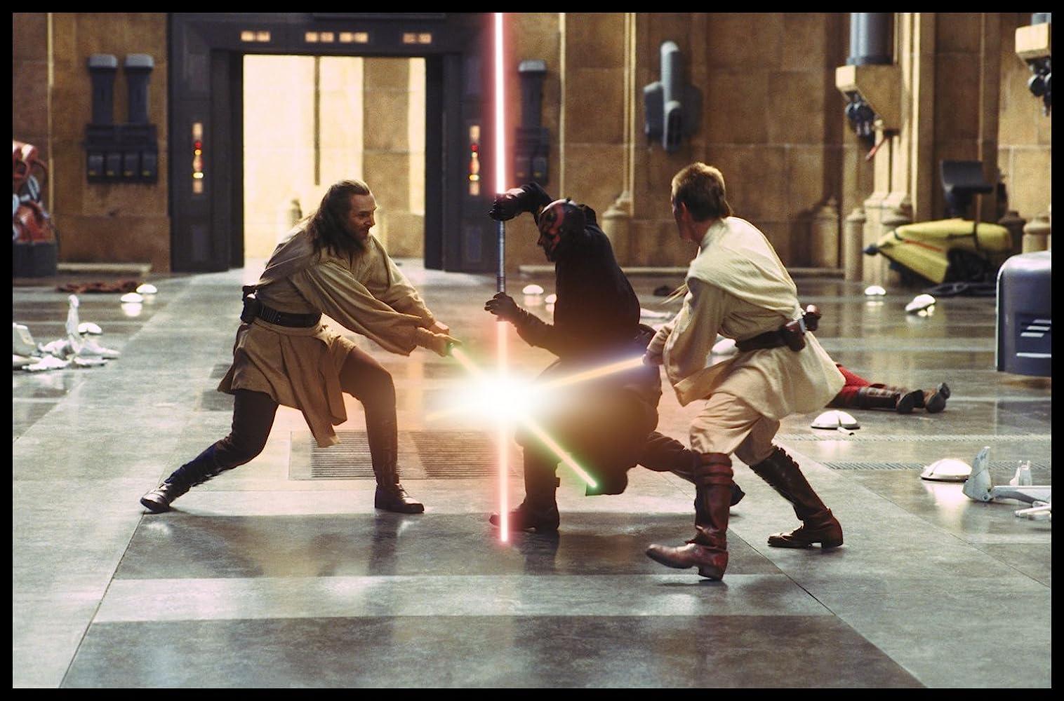 Ewan McGregor, Liam Neeson, and Ray Park in Star Wars: Episode I - The Phantom Menace (1999)