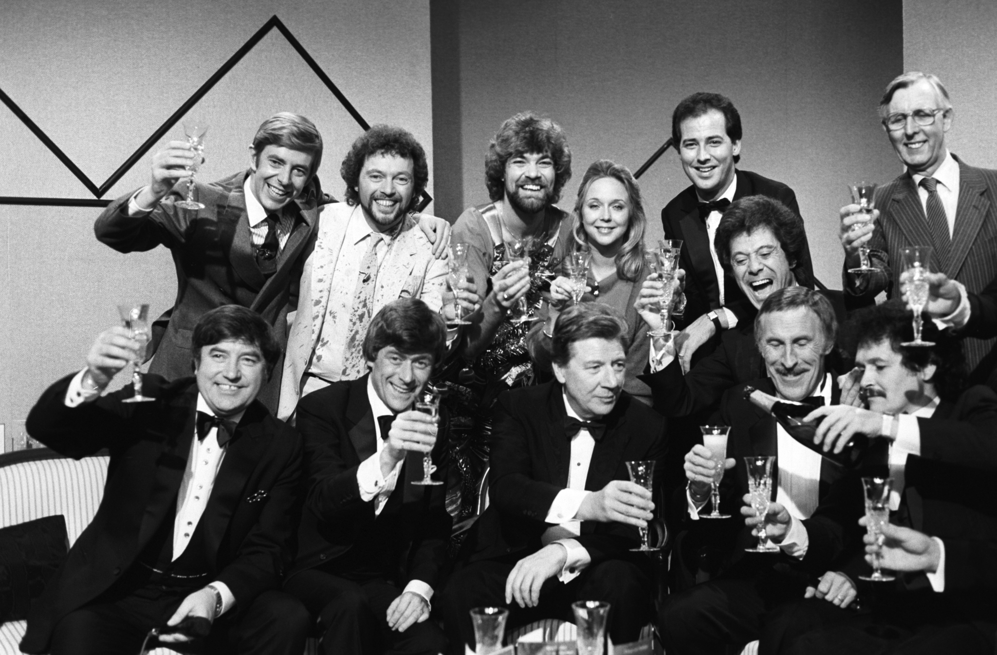 Bobby Ball, Michael Barrymore, Jeremy Beadle, Lionel Blair, Max Bygraves, Bruce Forsyth, Henry Kelly, Matthew Kelly, Sarah Kennedy, Jimmy Tarbuck, and Mike Yarwood