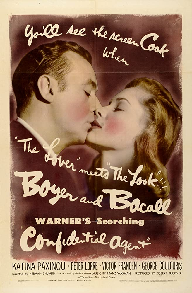 Lauren Bacall and Charles Boyer in Confidential Agent (1945)