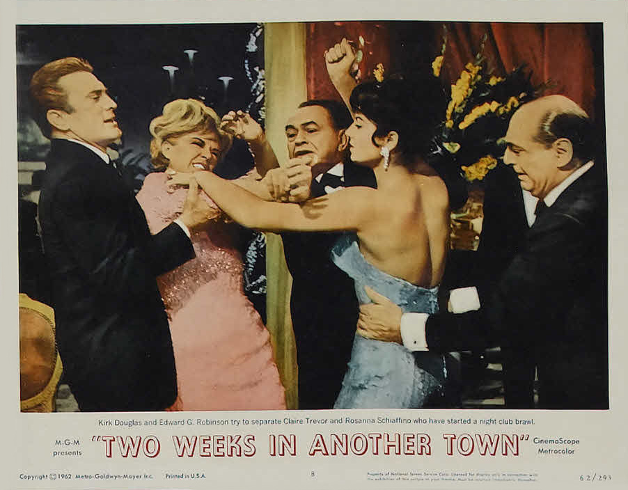 Kirk Douglas, Edward G. Robinson, Mino Doro, Rosanna Schiaffino, and Claire Trevor in Two Weeks in Another Town (1962)