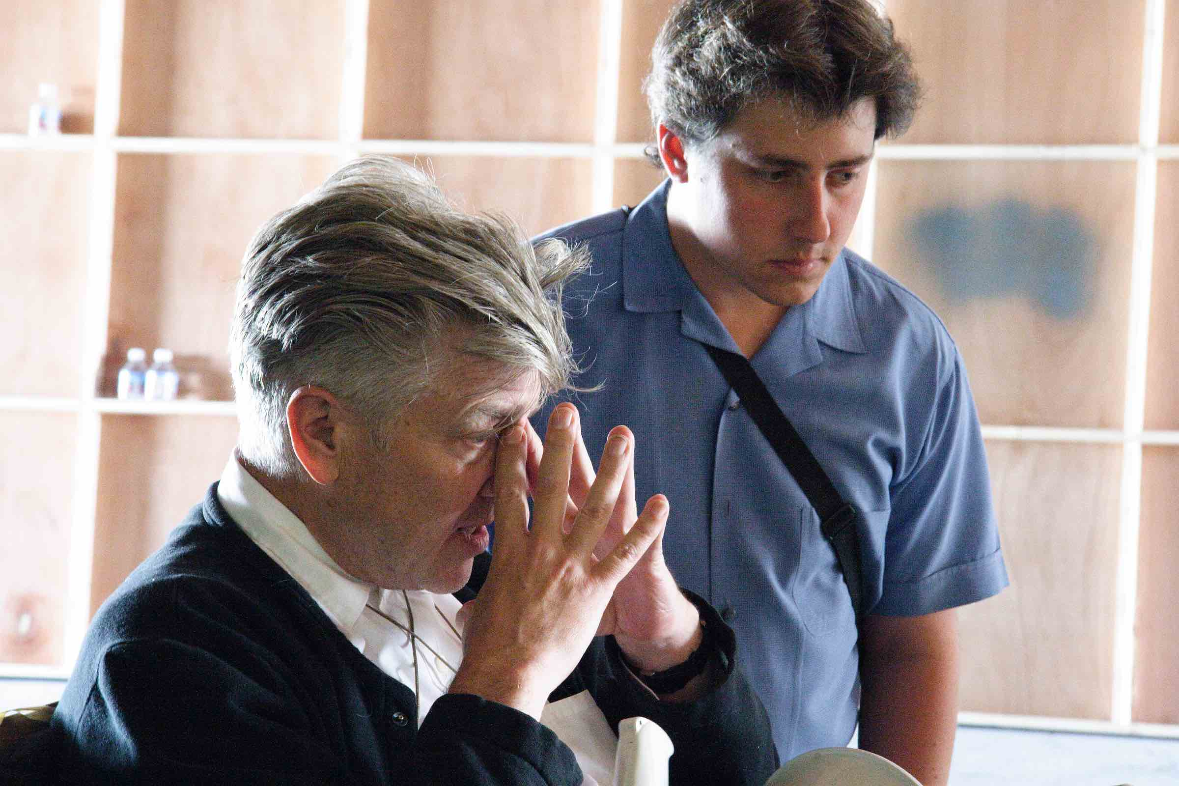 "Jeremy Alter and David Lynch on the set of ""INLAND EMPIRE"""
