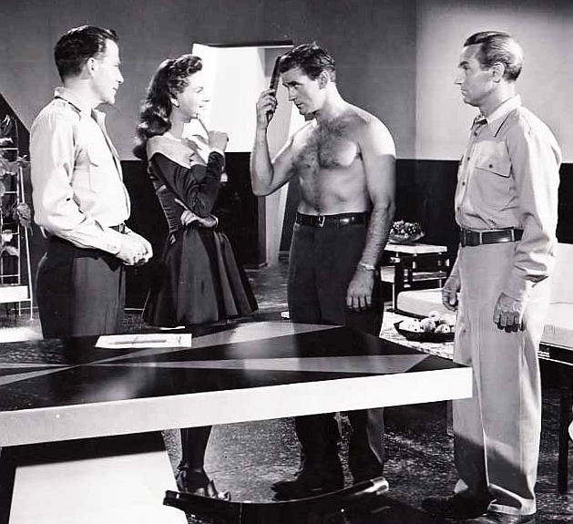 Rod Taylor, Nancy Gates, Nelson Leigh, and Hugh Marlowe in World Without End (1956)