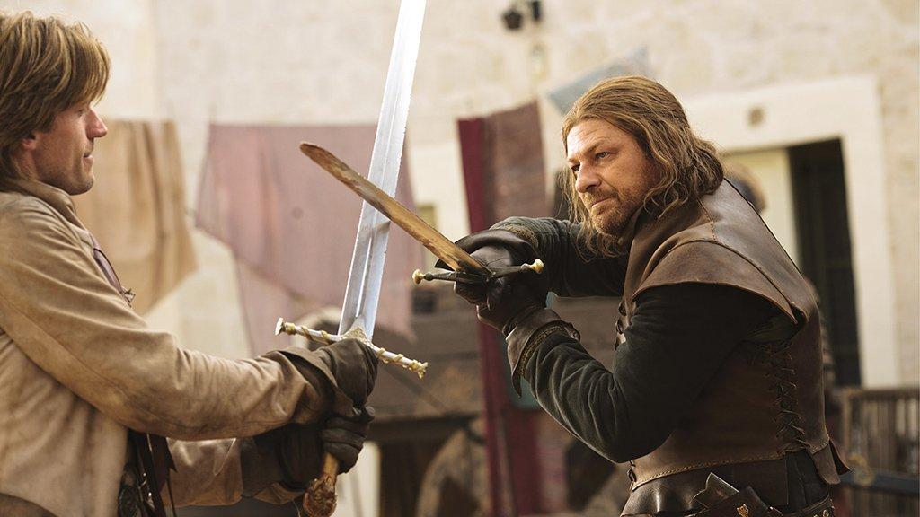 Sean Bean and Nikolaj Coster-Waldau in Game of Thrones (2011)