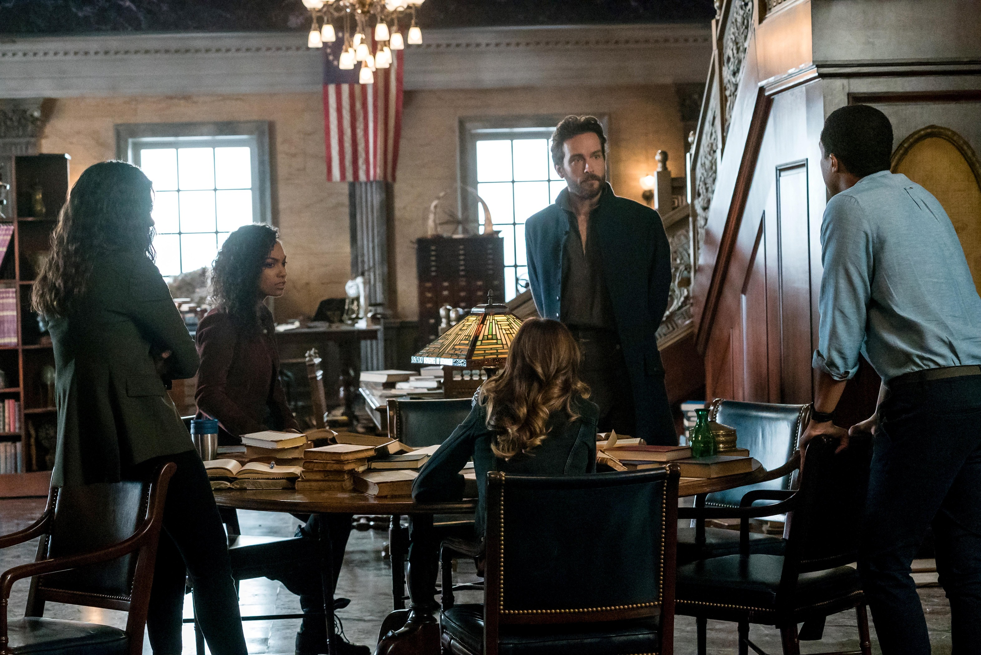 Janina Gavankar, Rachel Melvin, Tom Mison, Lyndie Greenwood, and Jerry MacKinnon in Sleepy Hollow (2013)