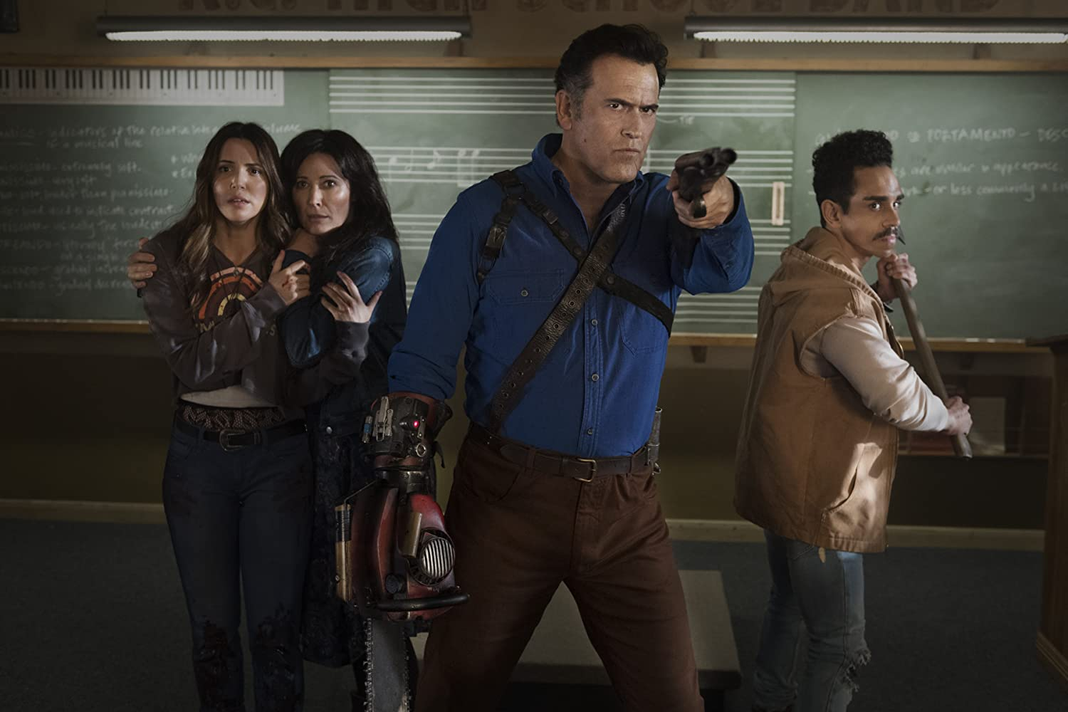 Bruce Campbell, Katrina Hobbs, Ray Santiago, and Arielle Carver-O'Neill in Ash vs Evil Dead (2015)