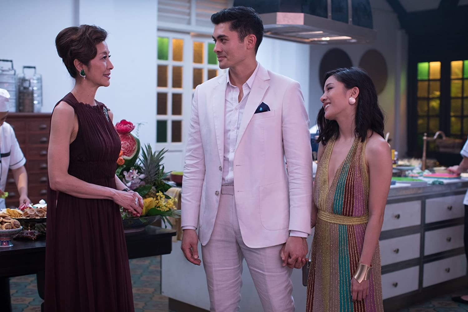 Michelle Yeoh, Constance Wu, and Henry Golding in Crazy Rich Asians (2018)