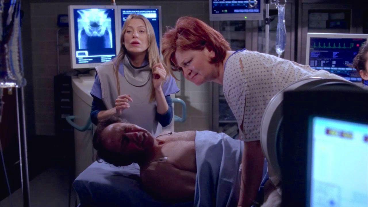Arye Gross, Ellen Pompeo, and Faith Prince in Grey's Anatomy (2005)