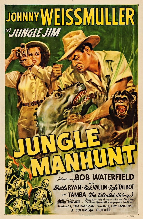 Sheila Ryan, Johnny Weissmuller, and Tamba in Jungle Manhunt (1951)
