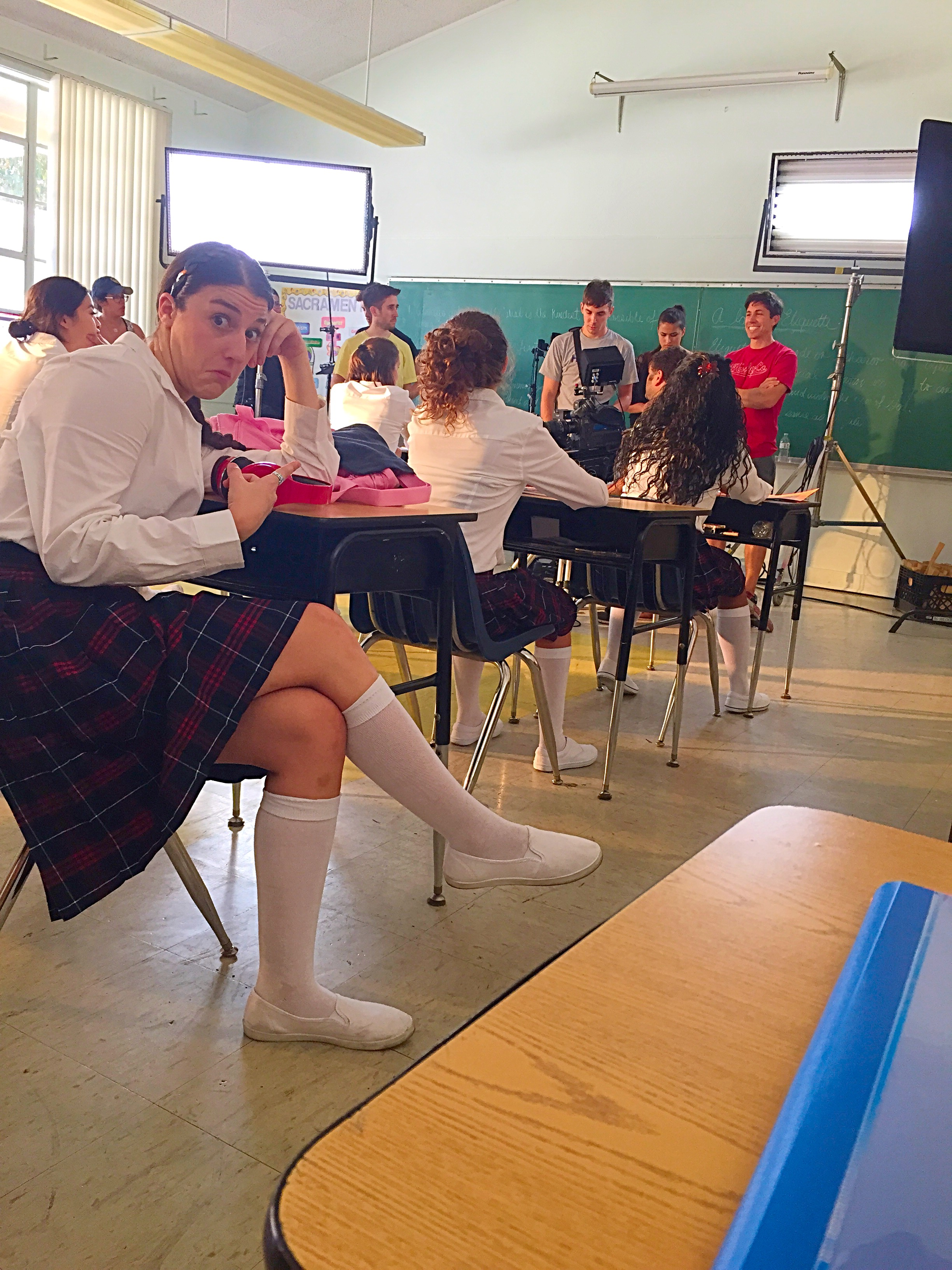 Mary Rachel as a featured dancer/catholic school girl in the feature film 'Breaking Legs'