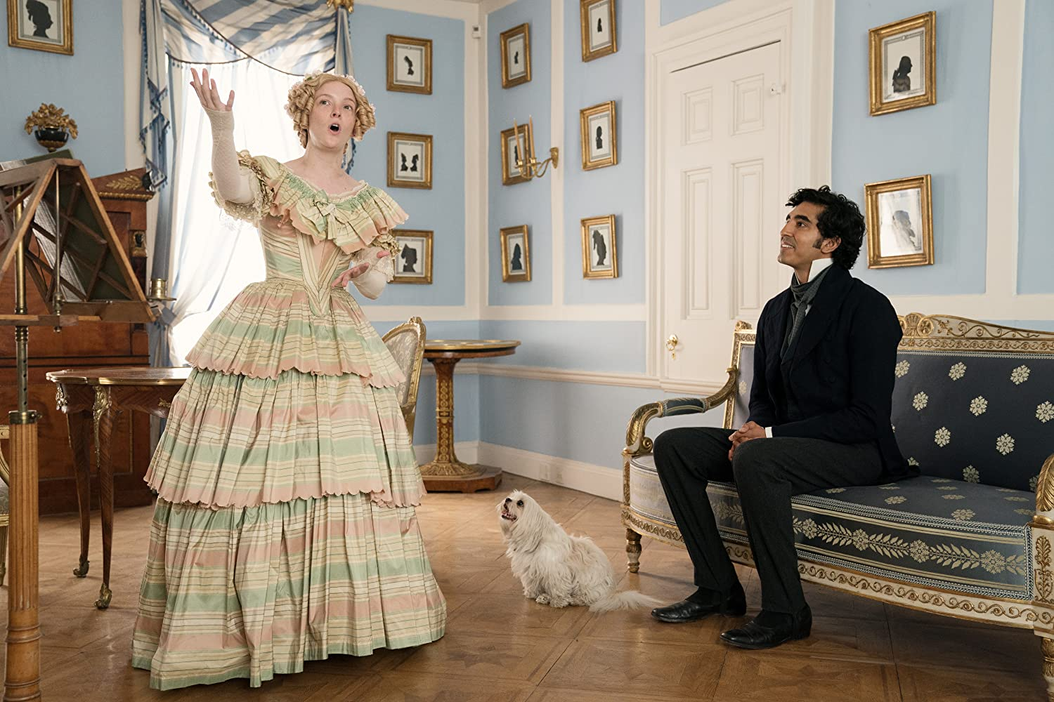 Dev Patel and Morfydd Clark in The Personal History of David Copperfield (2019)