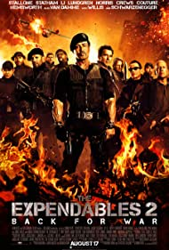 Dolph Lundgren, Arnold Schwarzenegger, Sylvester Stallone, Jean-Claude Van Damme, Bruce Willis, Jet Li, Chuck Norris, Jason Statham, Terry Crews, Randy Couture, and Liam Hemsworth in The Expendables 2 (2012)