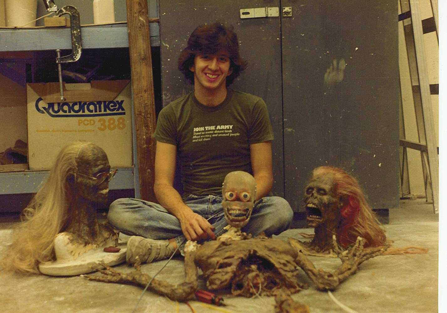 "Tony Gardner sits with the compnents for his animatronic ""Half Corpse"" puppet for ""The Return of the Living Dead"" prior to final assembly."
