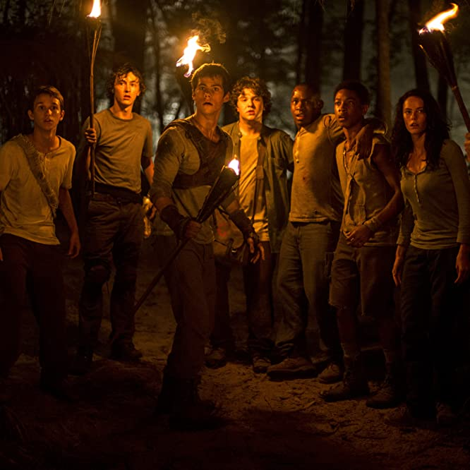 Aml Ameen, Kaya Scodelario, Dexter Darden, Dylan O'Brien, and Bryce Romero in The Maze Runner (2014)