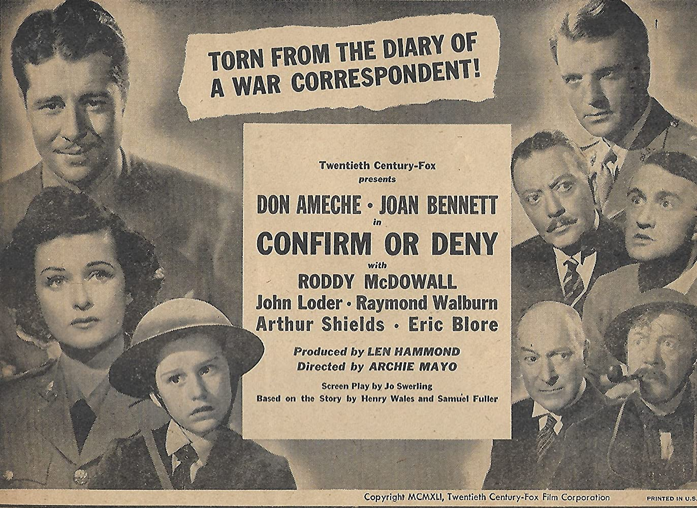 War Movie : Confirm or Deny (1941)